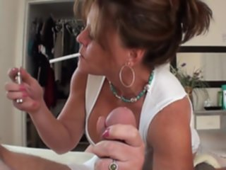 cougar smoking handjob